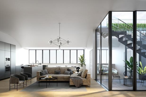 Magnifiek appartement met 2 slaapkamers, 2 badkamers en terras gelegen in het renovatieproject Academie Pictura.