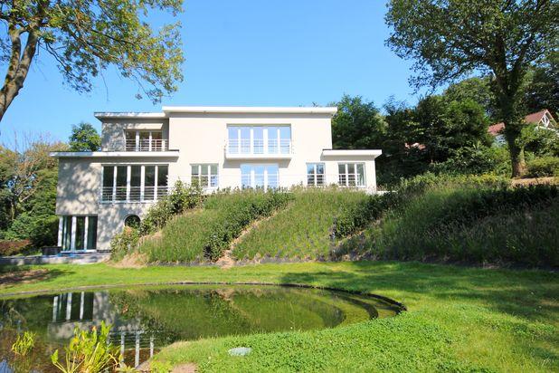 Moderne villa met tuin en natuurlijk zwembad