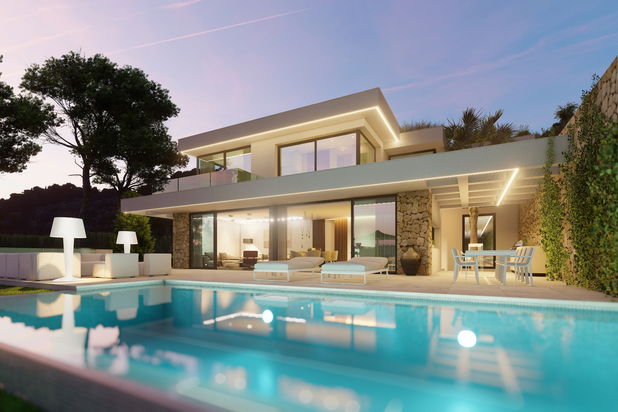 New project of 6 villas with sea views in Moraira