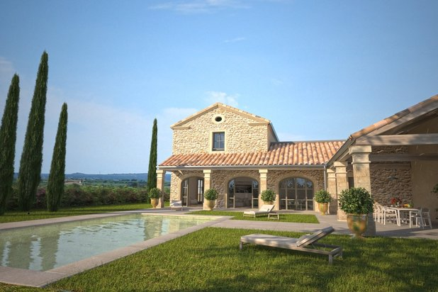 Project of new stone-built mas-type house with garden and pool 10 min from Uzès